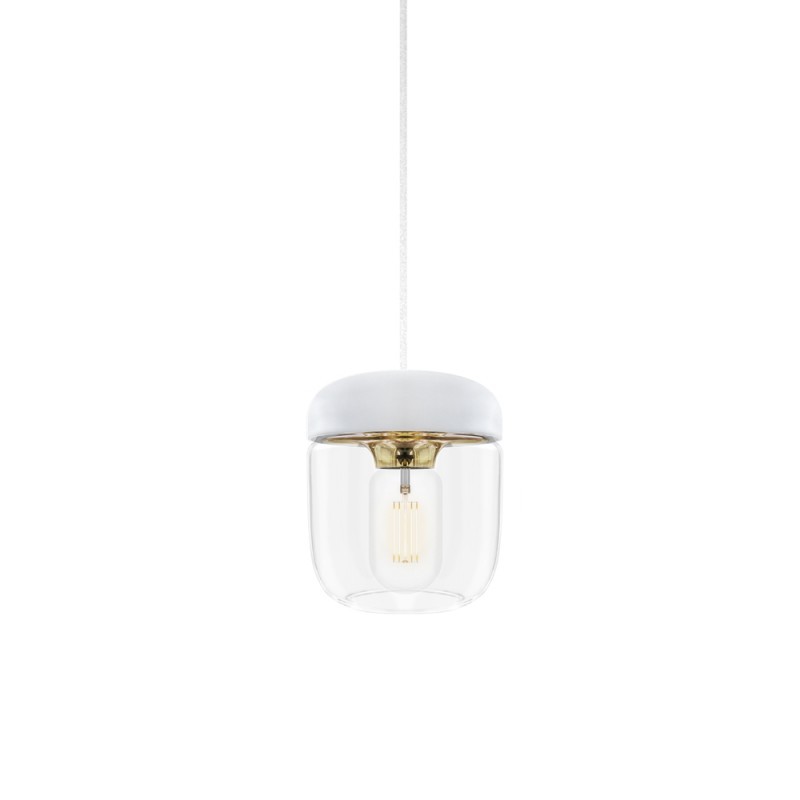 Suspension Blanche en verre Acorn Polished Brass Vita